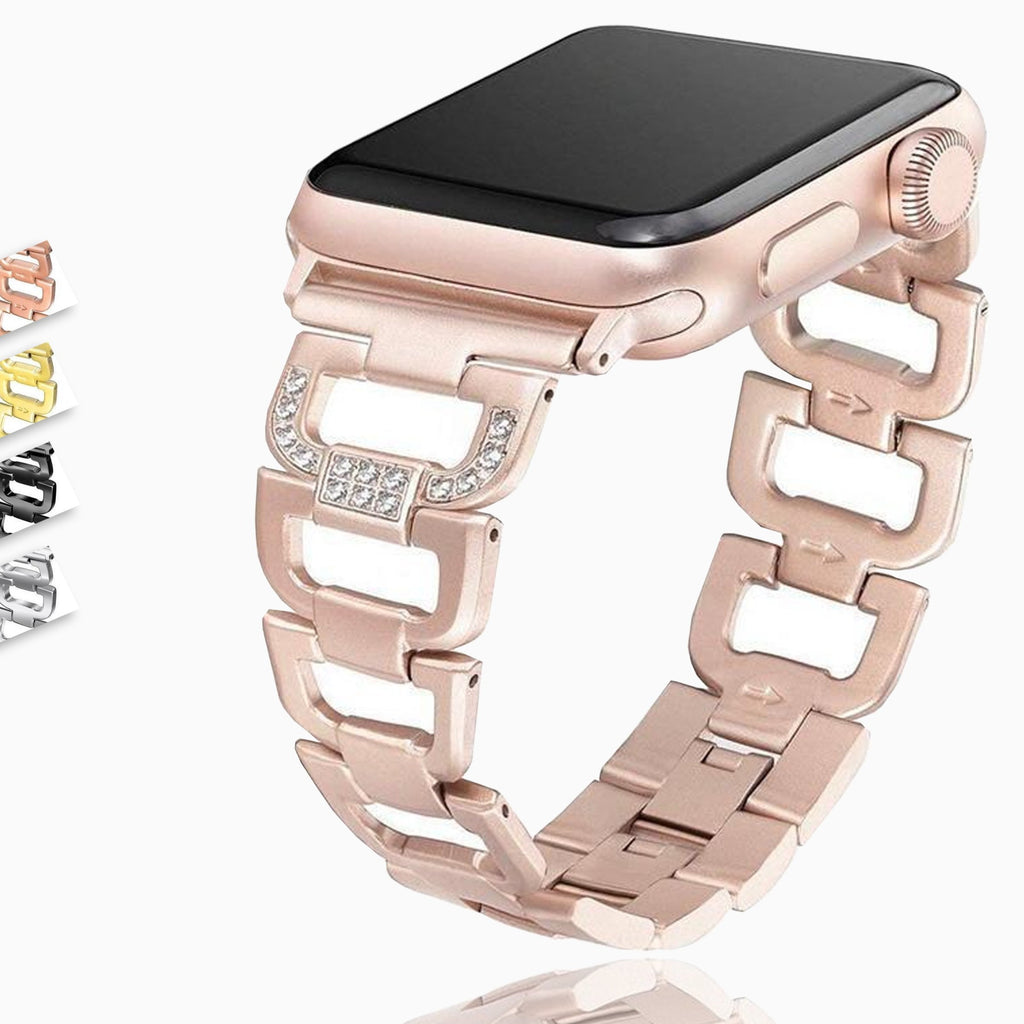 D Link Bracelet for Apple watch 44mm 40mm 42mm 38mm Stainless Steel metal strap for iWatch 6 5 4 3 2 watchband accessories - US Fast Shipping