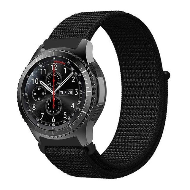 Watchbands dark black 9 / 20mm Gear s3 Frontier strap For Samsung galaxy watch 46mm 42mm active 2 nylon 22mm watch band huawei watch gt strap amazfit bip 20 44