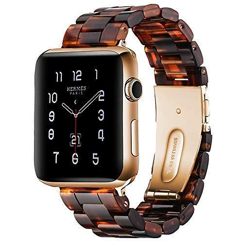 Watchbands Dark Honey / 42mm/44mm Resin Strap For Apple watc0h 5 4 44mm 40mm iwatch band 42mm 38mm stainless steel buckle Watchband bracelet Apple watch 5 4 3 2 1