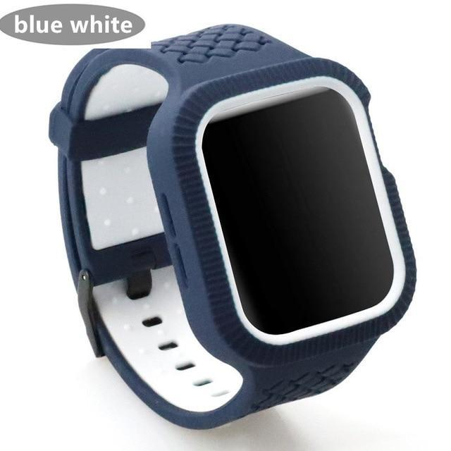 Watchbands deep blue white / 42mm/44mm Case+watch strap For Apple watch band 44 mm/40mm iWatch band 42mm 38mm Woven Silicone watchband bracelet Apple watch 5 4 3 2 1 40