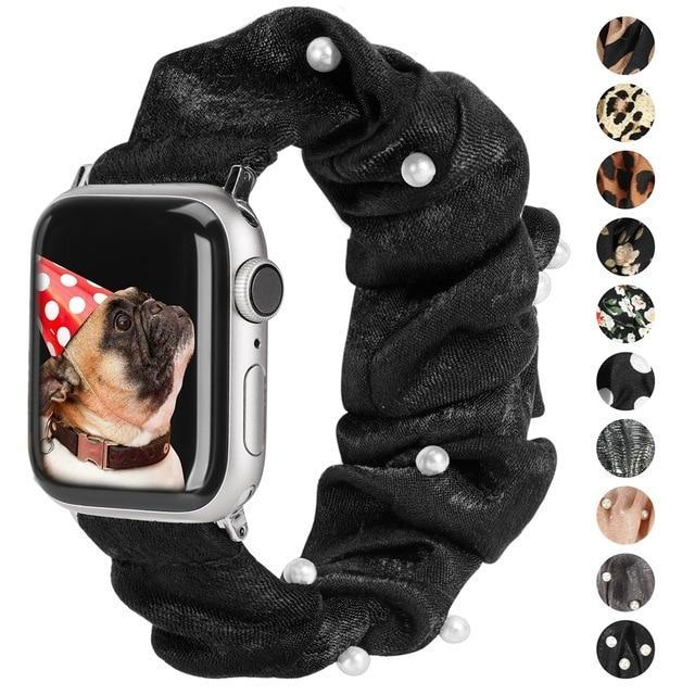 Watchbands Elastic Stretch Apple Watch band, Scrunchie print fabric Strap, Women Rose Gold  iwatch Series 5 4 3, 38mm 44mm 42mm 40mm