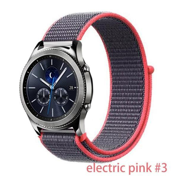 Watchbands electric pink 3 / 20mm Gear s3 Frontier strap For Samsung galaxy watch 46mm 42mm active 2 nylon 22mm watch band huawei watch gt strap amazfit bip 20 44