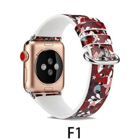 Watchbands F1 / 38MM/40MM Leather Strap for apple watch band 4 44mm 40mm correa aple watch 42mm 38mm Floral Pattern wrist bracelet belt iwatch 3/2/1 band