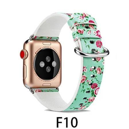 Watchbands F10 / 38MM/40MM Leather Strap for apple watch band 4 44mm 40mm correa aple watch 42mm 38mm Floral Pattern wrist bracelet belt iwatch 3/2/1 band