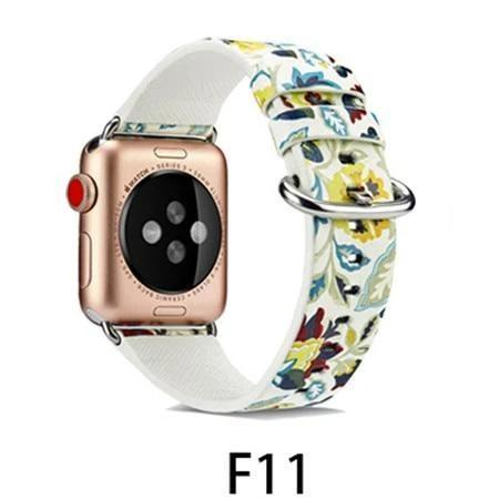 Watchbands F11 / 38MM/40MM Leather Strap for apple watch band 4 44mm 40mm correa aple watch 42mm 38mm Floral Pattern wrist bracelet belt iwatch 3/2/1 band