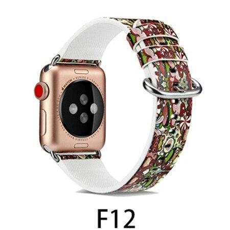 Watchbands F12 / 38MM/40MM Leather Strap for apple watch band 4 44mm 40mm correa aple watch 42mm 38mm Floral Pattern wrist bracelet belt iwatch 3/2/1 band