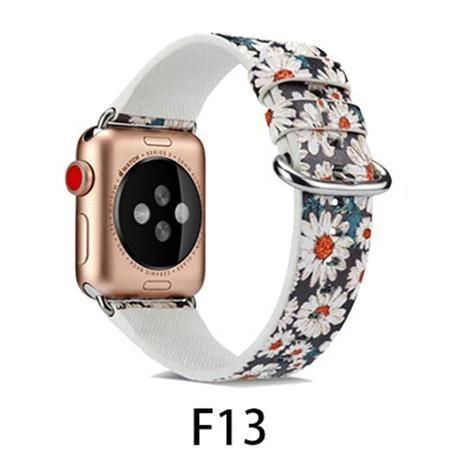 Watchbands F13 / 38MM/40MM Leather Strap for apple watch band 4 44mm 40mm correa aple watch 42mm 38mm Floral Pattern wrist bracelet belt iwatch 3/2/1 band