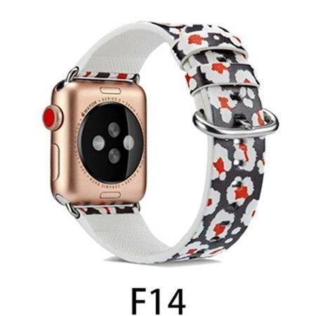 Watchbands F14 / 38MM/40MM Leather Strap for apple watch band 4 44mm 40mm correa aple watch 42mm 38mm Floral Pattern wrist bracelet belt iwatch 3/2/1 band