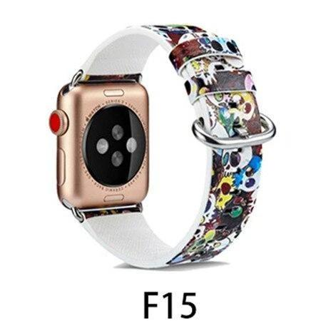 Watchbands F15 / 38MM/40MM Leather Strap for apple watch band 4 44mm 40mm correa aple watch 42mm 38mm Floral Pattern wrist bracelet belt iwatch 3/2/1 band