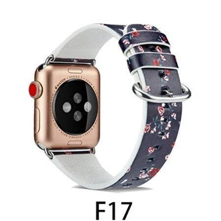 Watchbands F17 / 38MM/40MM Leather Strap for apple watch band 4 44mm 40mm correa aple watch 42mm 38mm Floral Pattern wrist bracelet belt iwatch 3/2/1 band