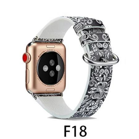 Watchbands F18 / 38MM/40MM Leather Strap for apple watch band 4 44mm 40mm correa aple watch 42mm 38mm Floral Pattern wrist bracelet belt iwatch 3/2/1 band