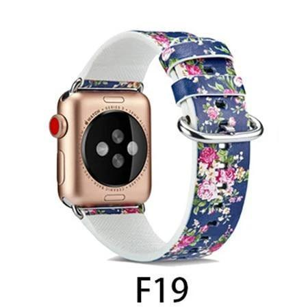 Watchbands F19 / 38MM/40MM Leather Strap for apple watch band 4 44mm 40mm correa aple watch 42mm 38mm Floral Pattern wrist bracelet belt iwatch 3/2/1 band