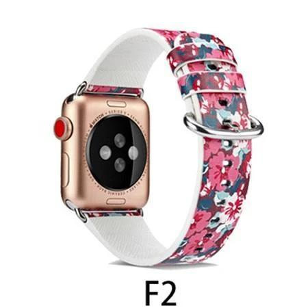 Watchbands F2 / 38MM/40MM Leather Strap for apple watch band 4 44mm 40mm correa aple watch 42mm 38mm Floral Pattern wrist bracelet belt iwatch 3/2/1 band