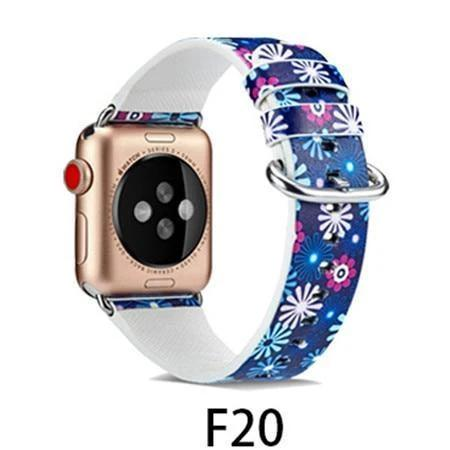 Watchbands F20 / 38MM/40MM Leather Strap for apple watch band 4 44mm 40mm correa aple watch 42mm 38mm Floral Pattern wrist bracelet belt iwatch 3/2/1 band