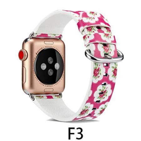 Watchbands F3 / 38MM/40MM Leather Strap for apple watch band 4 44mm 40mm correa aple watch 42mm 38mm Floral Pattern wrist bracelet belt iwatch 3/2/1 band