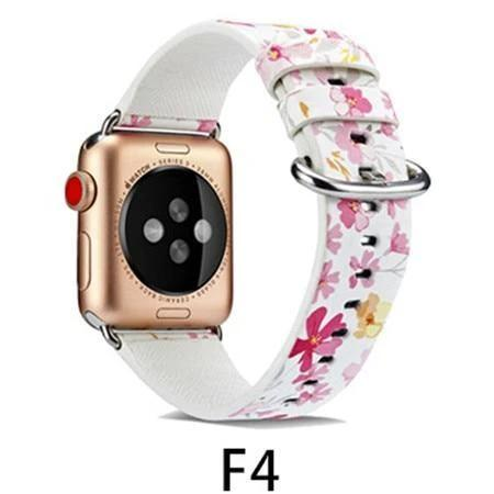 Watchbands F4 / 38MM/40MM Leather Strap for apple watch band 4 44mm 40mm correa aple watch 42mm 38mm Floral Pattern wrist bracelet belt iwatch 3/2/1 band