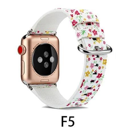 Watchbands F5 / 38MM/40MM Leather Strap for apple watch band 4 44mm 40mm correa aple watch 42mm 38mm Floral Pattern wrist bracelet belt iwatch 3/2/1 band