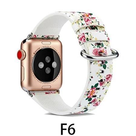 Watchbands F6 / 38MM/40MM Leather Strap for apple watch band 4 44mm 40mm correa aple watch 42mm 38mm Floral Pattern wrist bracelet belt iwatch 3/2/1 band
