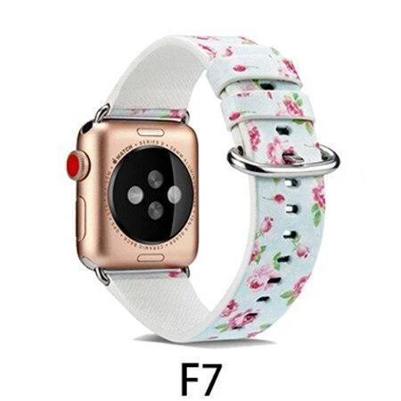 Watchbands F7 / 38MM/40MM Leather Strap for apple watch band 4 44mm 40mm correa aple watch 42mm 38mm Floral Pattern wrist bracelet belt iwatch 3/2/1 band