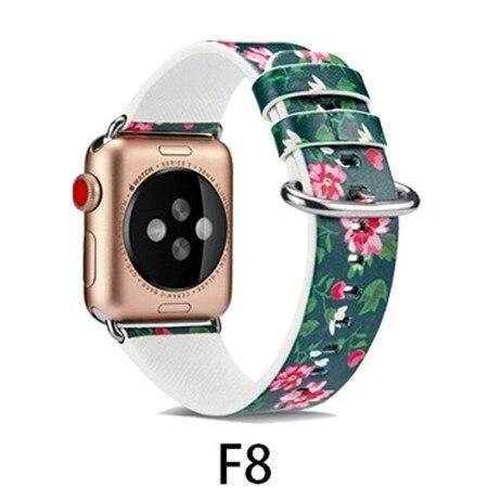 Watchbands F8 / 38MM/40MM Leather Strap for apple watch band 4 44mm 40mm correa aple watch 42mm 38mm Floral Pattern wrist bracelet belt iwatch 3/2/1 band