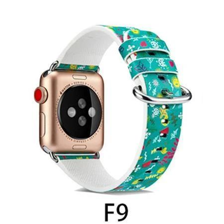 Watchbands F9 / 38MM/40MM Leather Strap for apple watch band 4 44mm 40mm correa aple watch 42mm 38mm Floral Pattern wrist bracelet belt iwatch 3/2/1 band