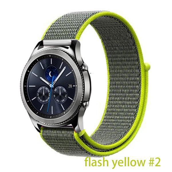 Watchbands flash yellow 2 / 20mm Gear s3 Frontier strap For Samsung galaxy watch 46mm 42mm active 2 nylon 22mm watch band huawei watch gt strap amazfit bip 20 44