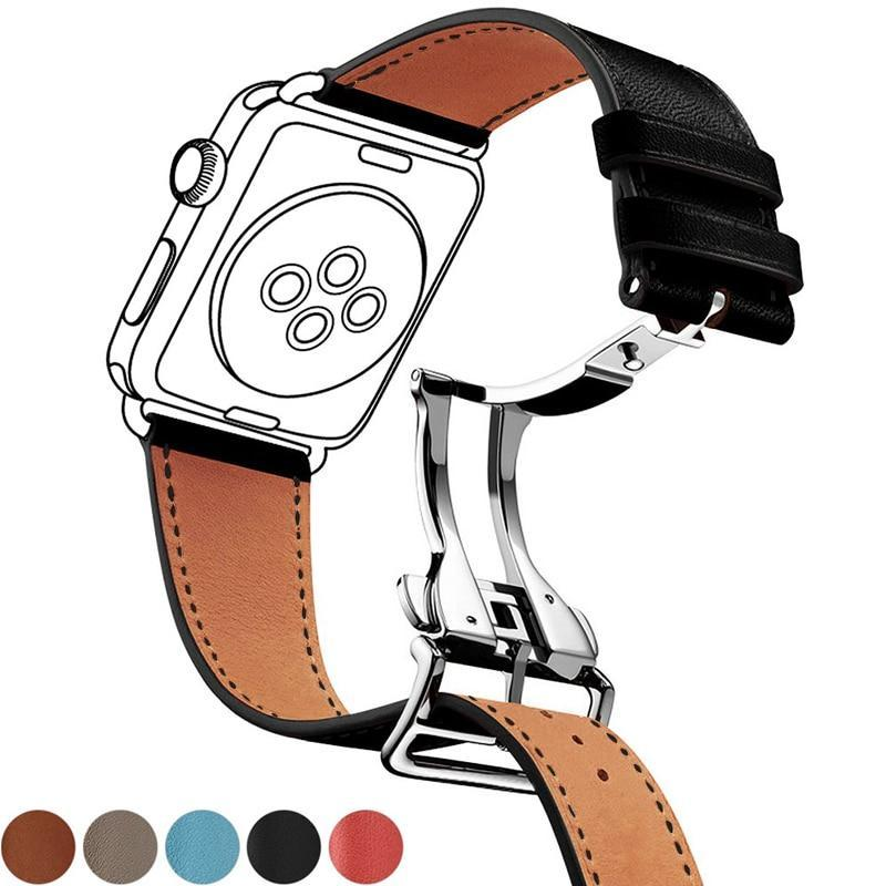 Watchbands Genuine leather strap for apple watch band 44mm 40mm 42mm 38mm fits iwatch hermes edition Series 5 4 3 2 1 bracelet buttefly Buckle watchband