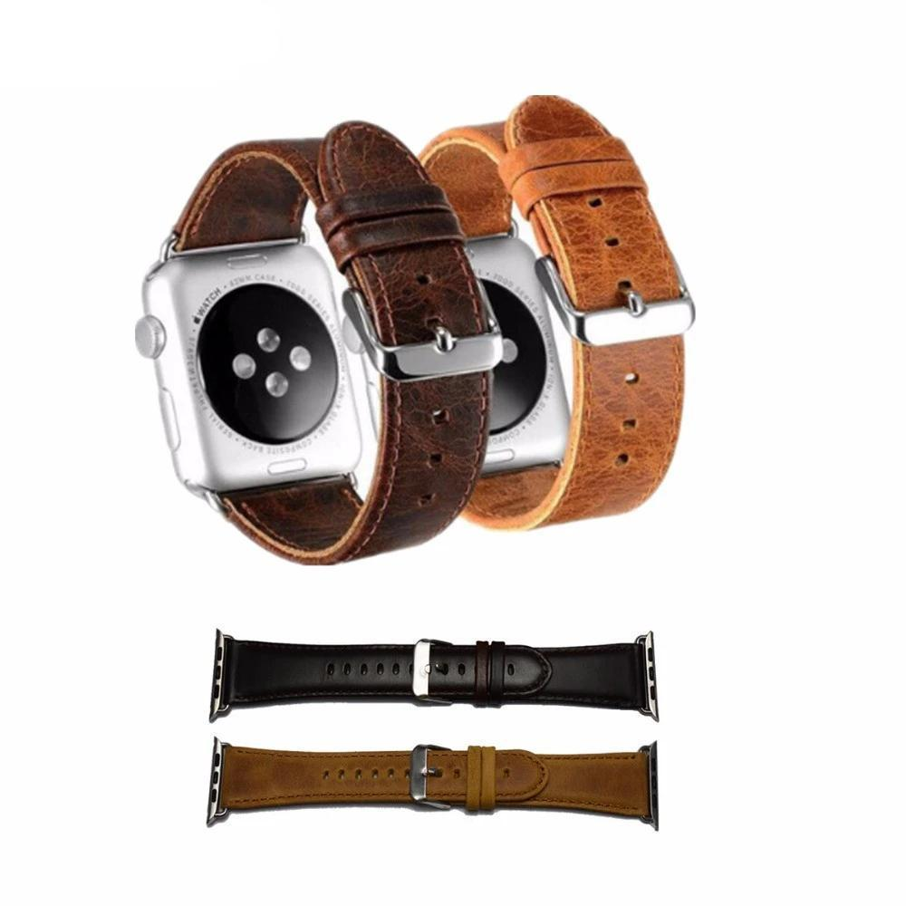 Watchbands genuine leather strap For Apple Watch band apple watch 5 4 3 44mm/40mm 42mm 38mm crazy horse classic metal clasp watchband belt