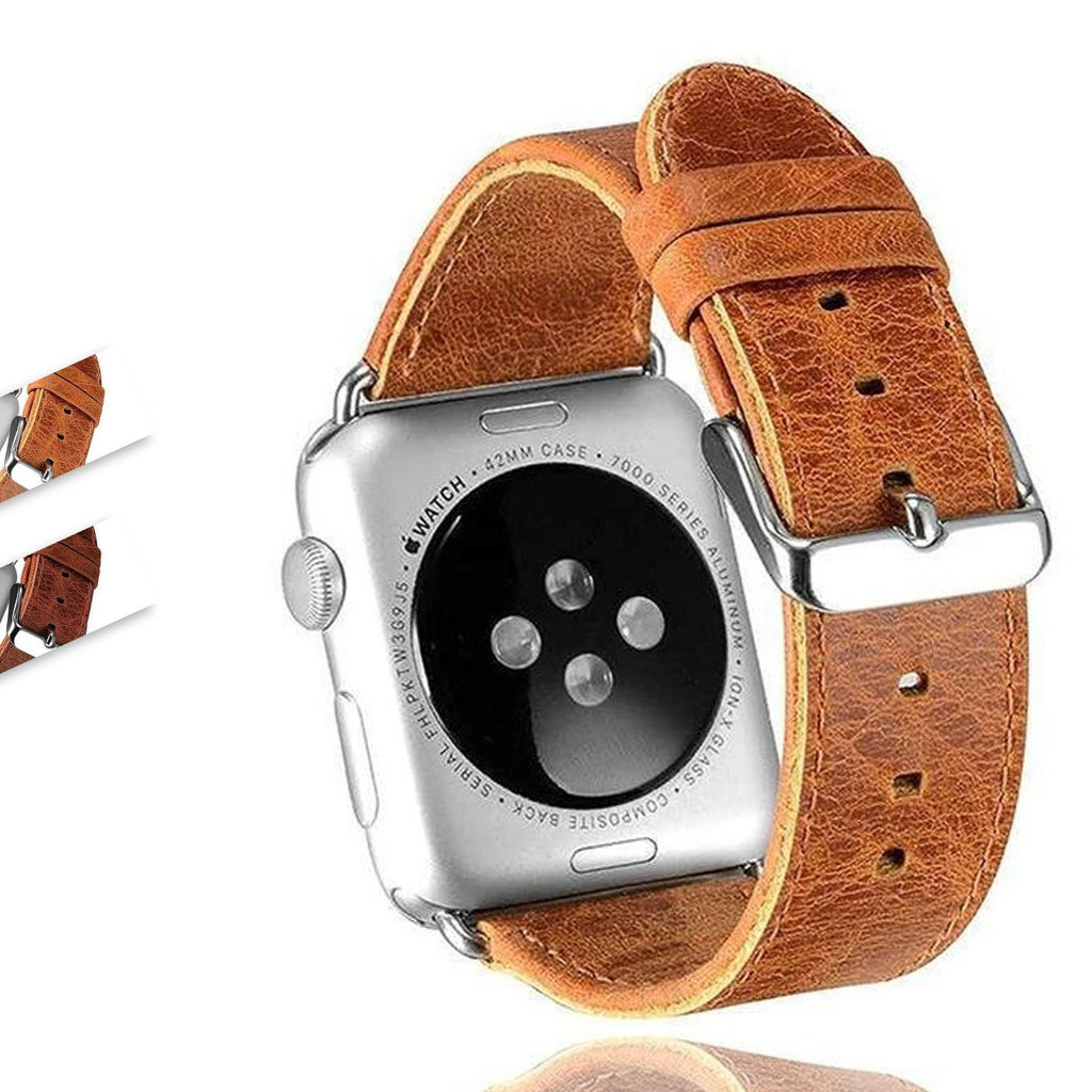Watchbands Crazy Horse Classic Metal Clasp Watchband belt For Apple Watch Genuine Leather Strap iWatch Series 6 5 4 3 2 44mm/40mm 42mm/38mm For Men Women