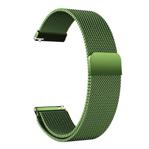 Watchbands green / 22mm 20mm/22mm Universal Milanes loop strap Magnetic Closure Stainless Steel Watch Band Quick Release metal smartwatch bracelet belt