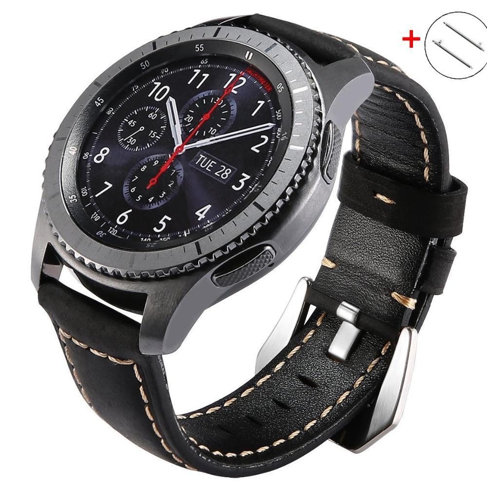 Watchbands Huawei watch GT 2 strap for Samsung Gear s3 Frontier Galaxy watch 46mm band leather bracelet 22mm strap Gear S 3 huawei gt2 46mm|Watchbands|