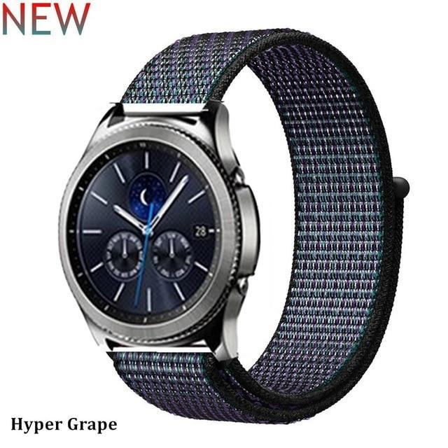 Watchbands hyper grape 33 / 20mm Gear s3 Frontier strap For Samsung galaxy watch 46mm 42mm active 2 nylon 22mm watch band huawei watch gt strap amazfit bip 20 44