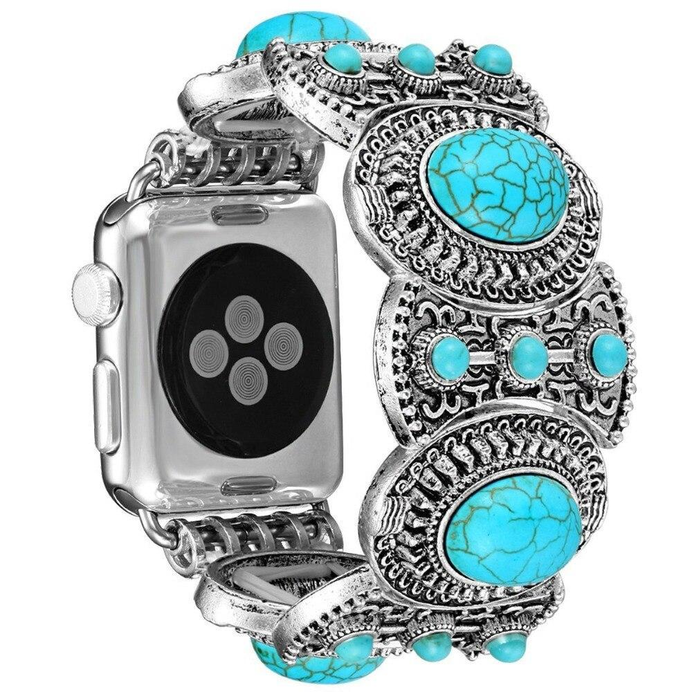 Watchbands Jewelry Strap For Apple Watch 4 band 44mm 40mm iwatch series 3/2/1 42mm/38mm diamond Turquoise Wrist bracelet belt