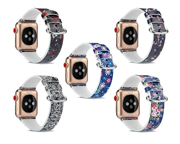Watchbands Leather Strap for apple watch band 4 44mm 40mm correa aple watch 42mm 38mm Floral Pattern wrist bracelet belt iwatch 3/2/1 band