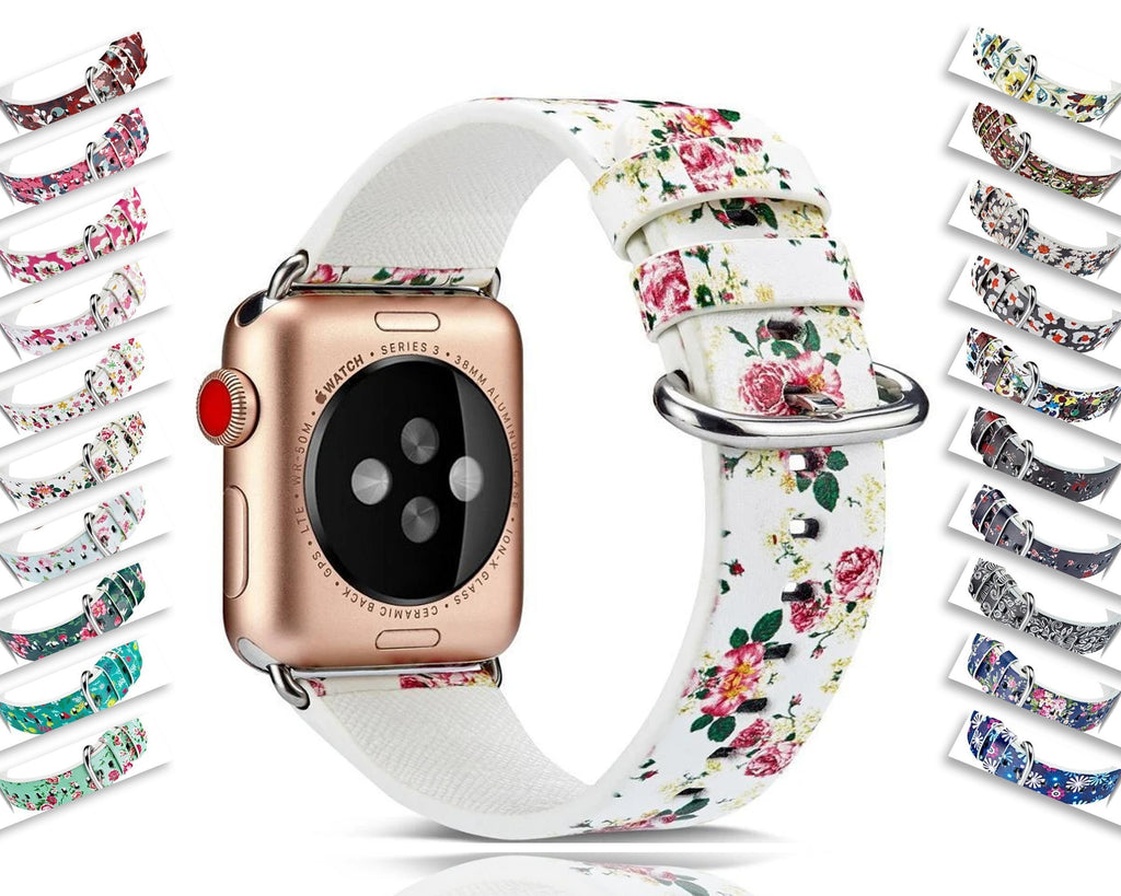 Watchbands Leather Strap for apple watch 6 5 4 44mm/40mm 42mm/38mm correa watchband Floral Pattern wrist bracelet belt iwatch women's - US Fast Shipping