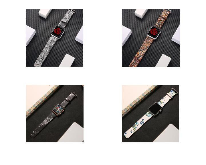 Watchbands leather strap for apple watch band 42mm 38mm 44mm 40mm correa Printing flower bracelet watchband for iwatch pulseira 5/4/3/2/1 - US Fast Shipping