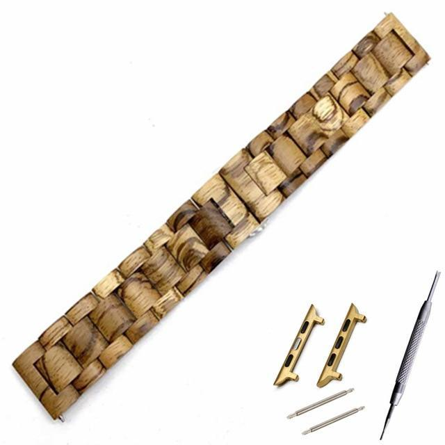 Watchbands Li brown go adapter / 38mm Natural Wood Watch Bracelet for Apple Watch Band 38/42mm Luxury Watch Accessories for IWatch Strap Watchband with Adapters