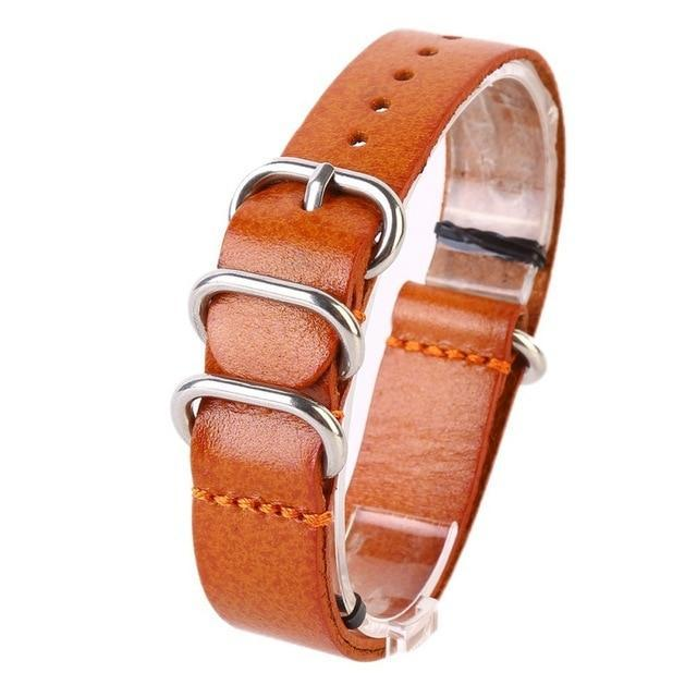 Watchbands Light Brown / 18mm Watch Band Strap Genuine Leather Stainless Steel Ring Pin Buckled Wristband Wristwatch Bands Replacement Accessories|Watchbands|
