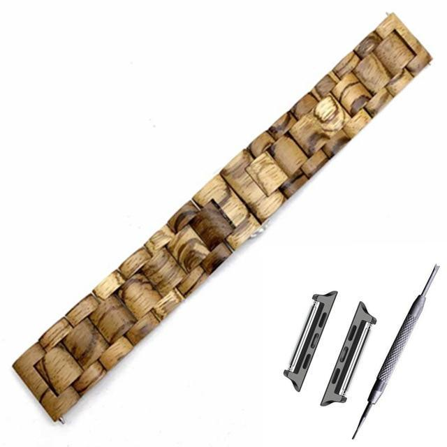 Watchbands Light brown band / black adapter / 38mm Natural Wood Watch Bracelet for Apple Watch Band 38/42mm Luxury Watch Accessories for IWatch Strap Watchband with Adapters
