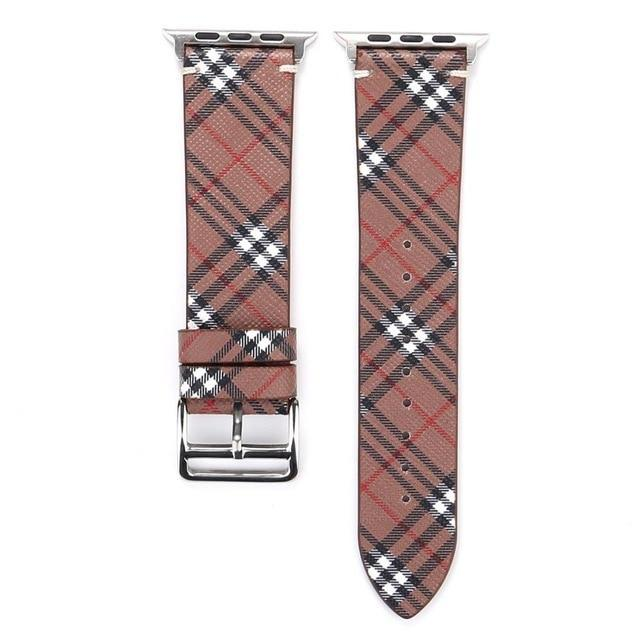Watchbands Maroon / 38mm-40mm Patterned Plaid Leather Wristband Strap for Apple Watch Series 5/4/3/2/1 gen Replacement for iWatch Bands