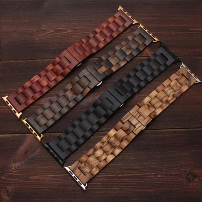 Watchbands Natural Wood Apple Watch Band Bracelet,  Luxury iWatch Accessories, Tool, Watchband with Adapters, Series 5 4 3, 38mm 40mm 42mm 44mm