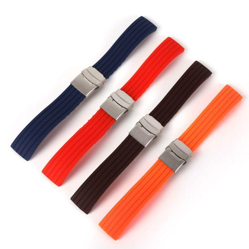 Watchbands New Hot Rubber Watch Strap Band Deployment Buckle Waterproof Watchband 16mm,18mm, 20mm, 22mm, 24mm|Watchbands|
