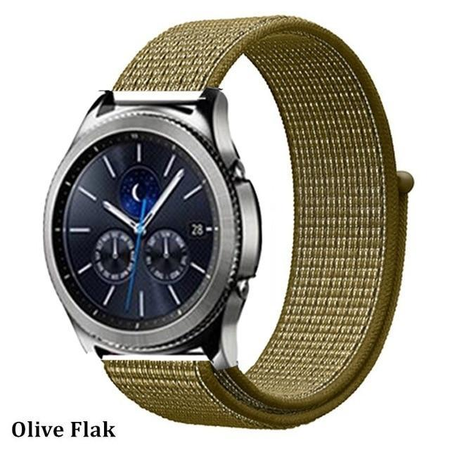 Watchbands olive flak 36 / 20mm Gear s3 Frontier strap For Samsung galaxy watch 46mm 42mm active 2 nylon 22mm watch band huawei watch gt strap amazfit bip 20 44