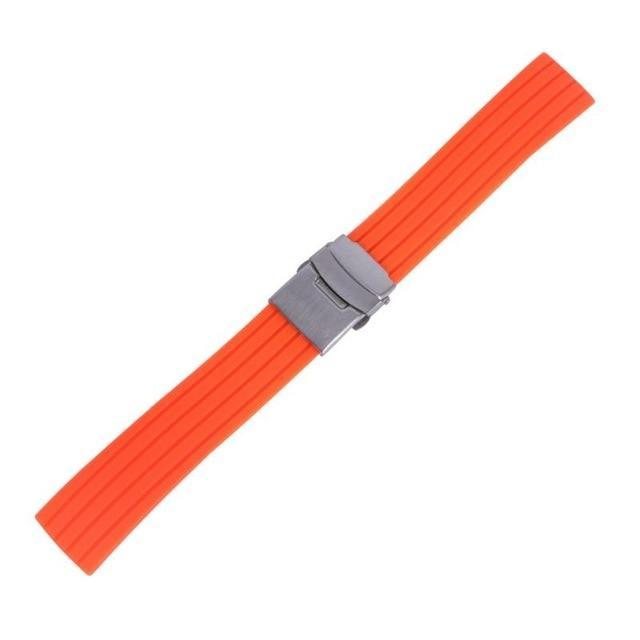 Watchbands orange / 16mm New Hot Rubber Watch Strap Band Deployment Buckle Waterproof Watchband 16mm,18mm, 20mm, 22mm, 24mm|Watchbands|