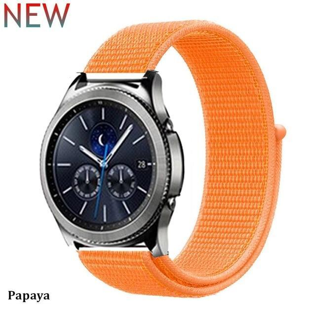 Watchbands papaya 37 / 20mm Gear s3 Frontier strap For Samsung galaxy watch 46mm 42mm active 2 nylon 22mm watch band huawei watch gt strap amazfit bip 20 44