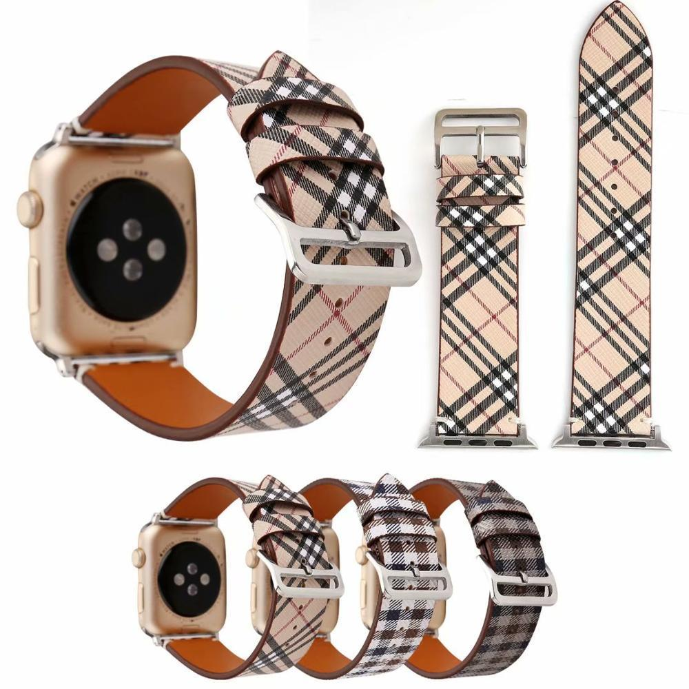 Watchbands Patterned Plaid Leather Wristband Strap for Apple Watch Series 5/4/3/2/1 gen Replacement for iWatch Bands