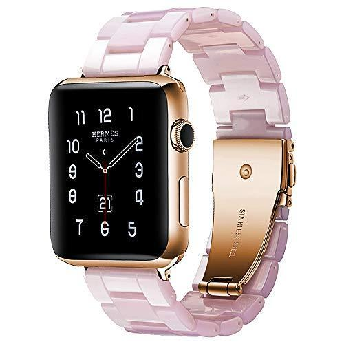 Watchbands Pink / 42mm/44mm Resin Strap For Apple watc0h 5 4 44mm 40mm iwatch band 42mm 38mm stainless steel buckle Watchband bracelet Apple watch 5 4 3 2 1