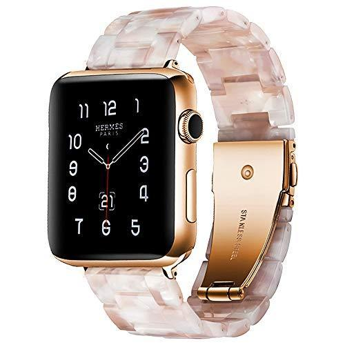 Watchbands pink bloom / 42mm/44mm Resin Strap For Apple watc0h 5 4 44mm 40mm iwatch band 42mm 38mm stainless steel buckle Watchband bracelet Apple watch 5 4 3 2 1