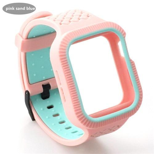 Watchbands pink blue / 42mm/44mm Case+watch strap For Apple watch band 44 mm/40mm iWatch band 42mm 38mm Woven Silicone watchband bracelet Apple watch 5 4 3 21 40