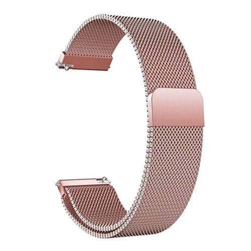 Watchbands pink gold / 22mm 20mm/22mm Universal Milanes loop strap Magnetic Closure Stainless Steel Watch Band Quick Release metal smartwatch bracelet belt